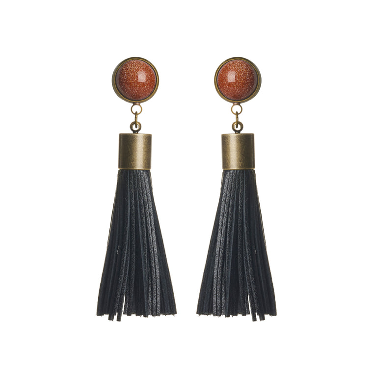 Goldstone Tassel Earrings