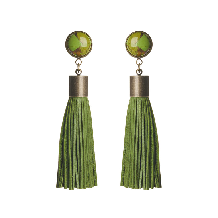 Copper Turquoise (Green) Tassel Earrings