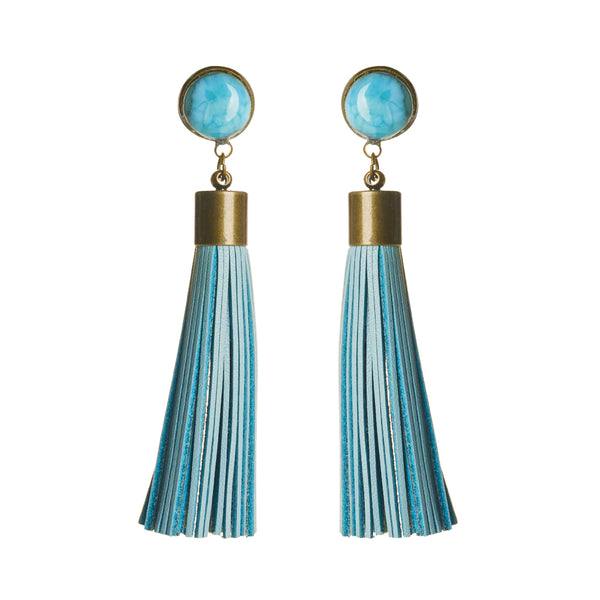 Larimar Tassel Earrings