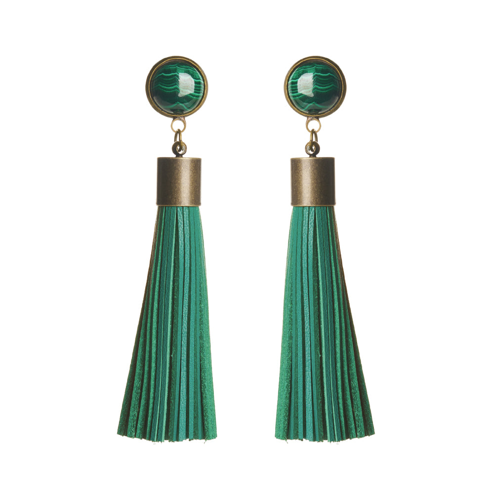 Malachite Tassel Earrings