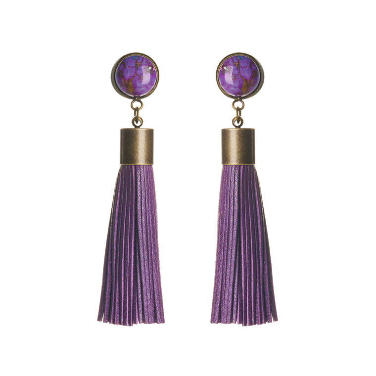 Copper Turquoise (Purple) Tassel Earrings