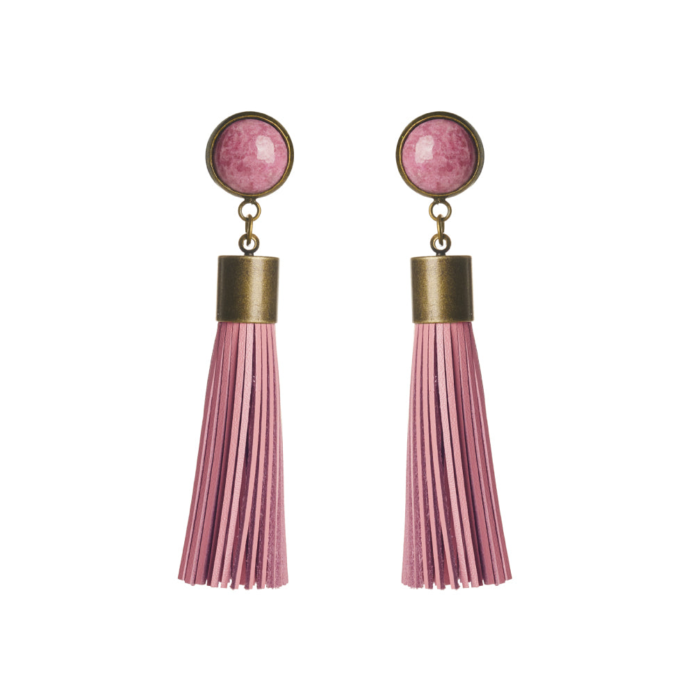 Rhodonite Tassel Earrings