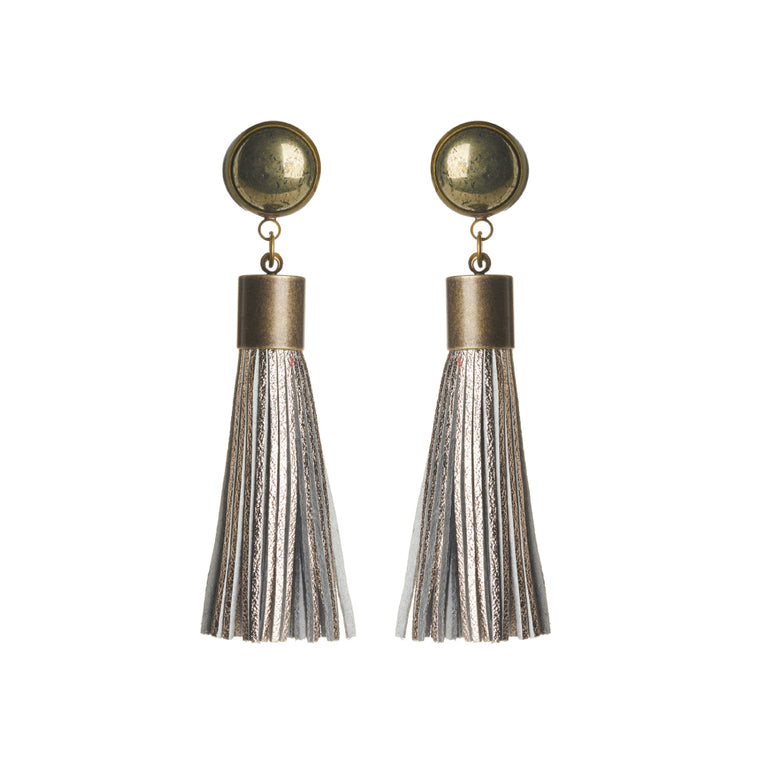 Pyrite (Metallic Silver) Tassel Earrings