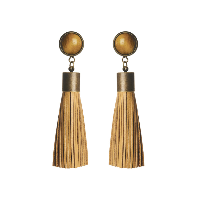 Tigers Eye Tassel Earrings