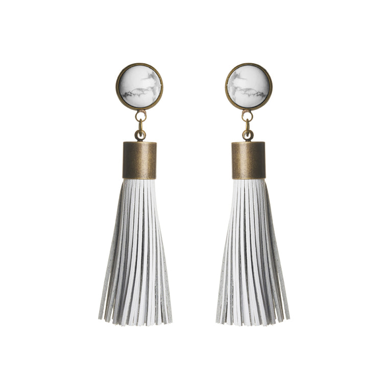 White Howlite Tassel Earrings