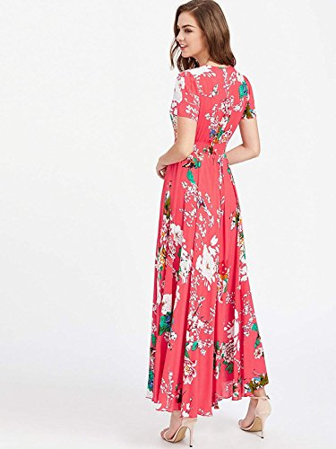 800c518cd1 Milumia Women's Button Up Split Floral Print Flowy Party Maxi Dress X-Small  Red