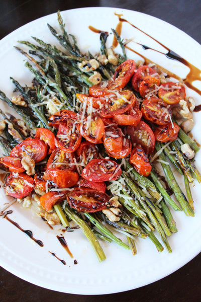 Parmesan Roasted Asparagus and Tomatoes with Walnuts and Balsamic Drizzle