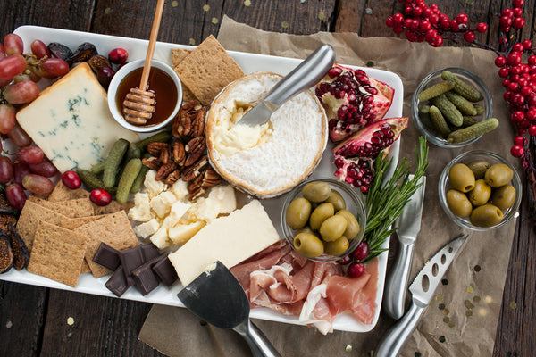 healthy harvest holiday cheese and olive board