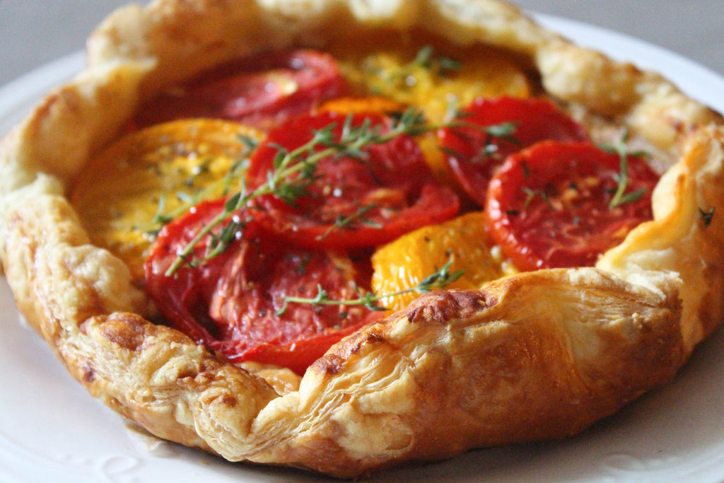 heirloom tomato goat cheese galette with thyme and honey