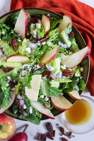 autumn crunch salad with apples pear feta pecans and red onion