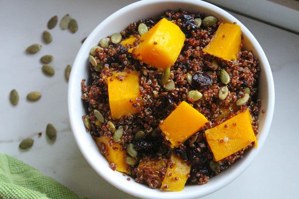 butternut squash cranberry quinoa bowl with pumpkin seeds vegan gluten free dairy free thanksgiving