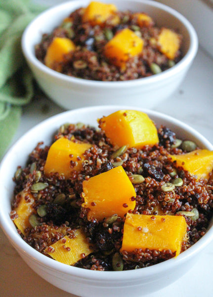 healthy thanksgiving side butternut squash quinoa cranberries vegan gluten free