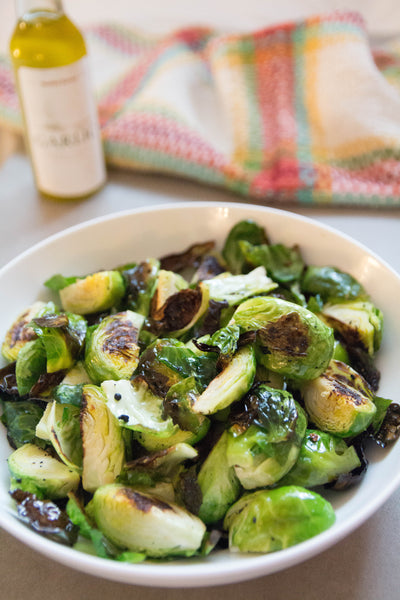 roasted brussel sprouts with garlic extra virgin olive oil (greek)
