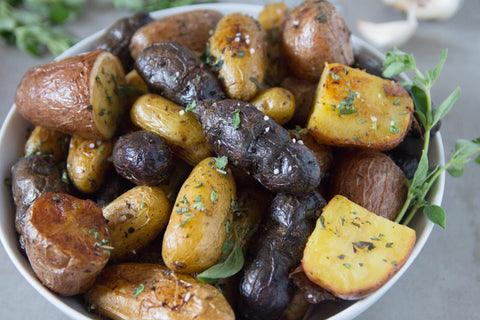 greek lemon herb roasted potatoes (gluten free, vegan)