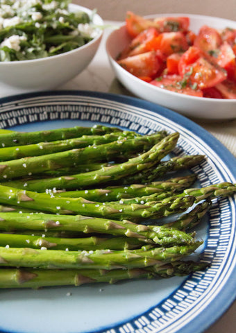 steamed asparagus with lemon olive (gluten free, vegan)