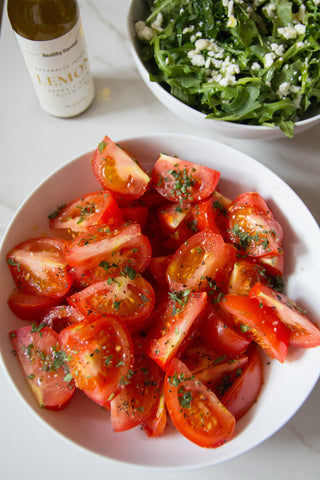 greek tomato salad with garlic olive oil