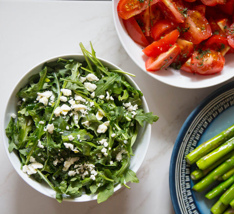 arugula salad with feta and lemon dressing (gluten free, vegan)