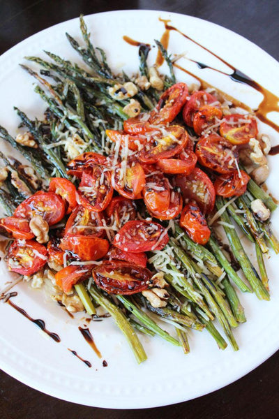 parmesan roasted asparagus with walnuts and balsamic