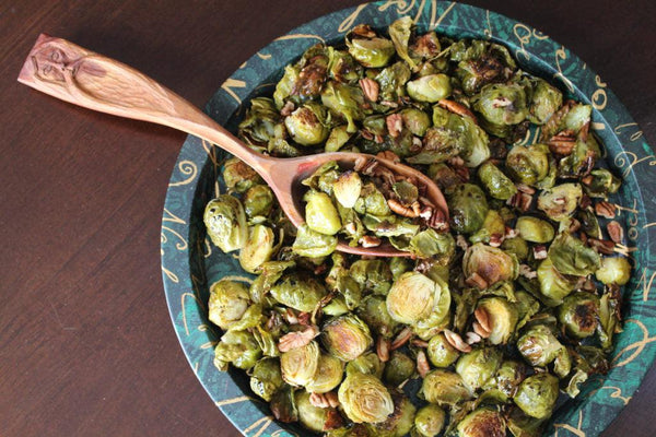 balsamic glazed brussel sprouts with toasted pecans
