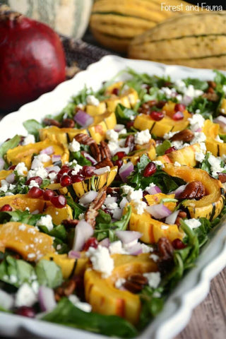 delicata salad with pomegranate and arugula