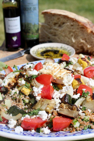 grilled vegetables with marinated feta and tabbouleh