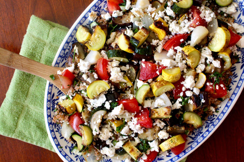 grilled veggies and marinated feta over tabbouleh