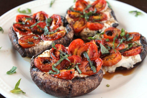 caprese stuffed garlic butter portobello mushrooms