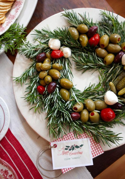 olive and rosemary wreath holiday entertaining appetizer