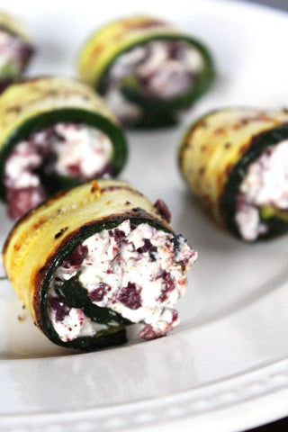 zucchini rollups with herbed goat cheese and olives