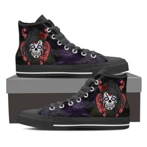 Goth Topics Women's Long Haired Sugar Skull High Top Canvas Shoes