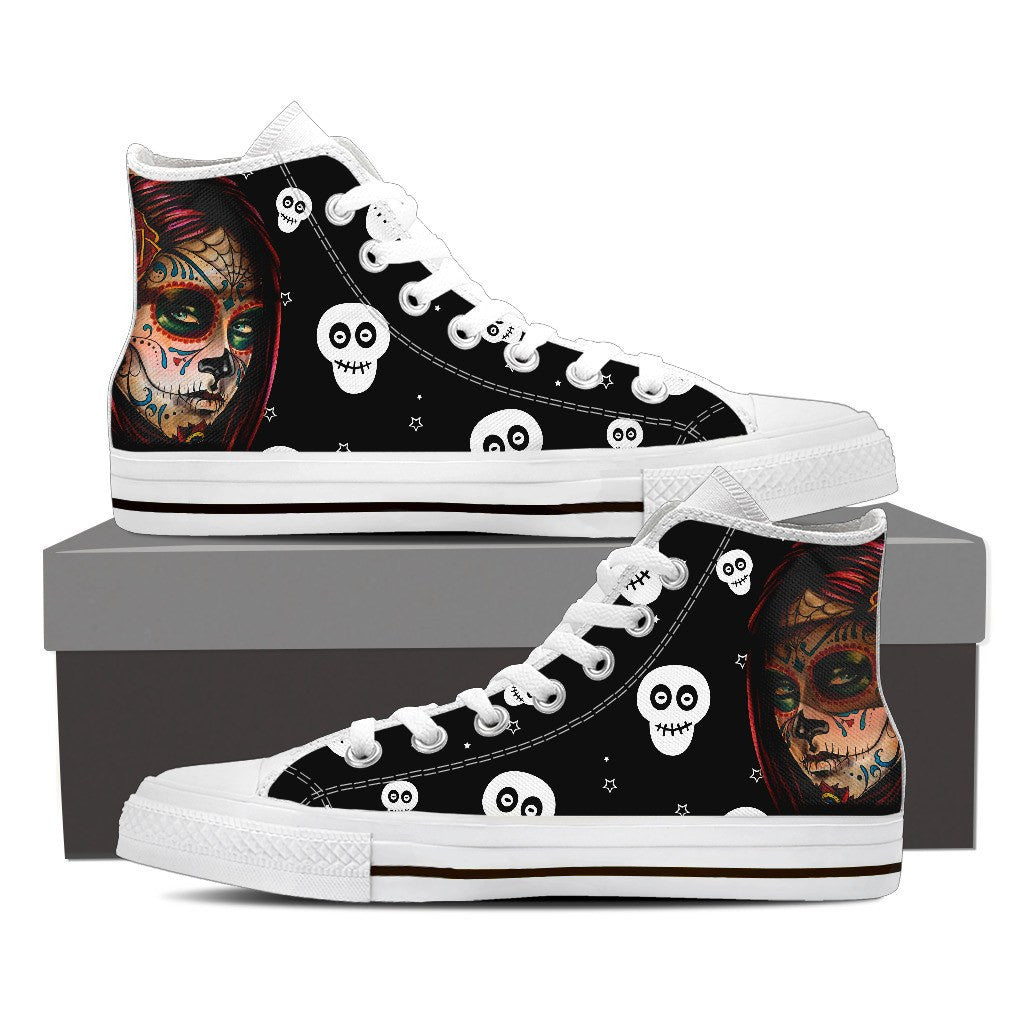 Goth Topics Women's White Skull High Top Canvas Shoes