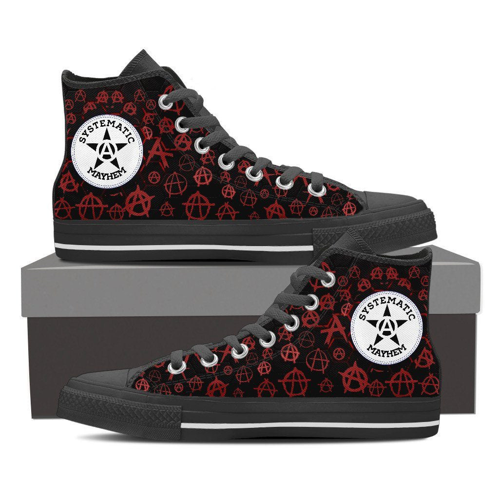 Goth Topics Men's Punk Systematic Mayhem High Top Canvas Shoes