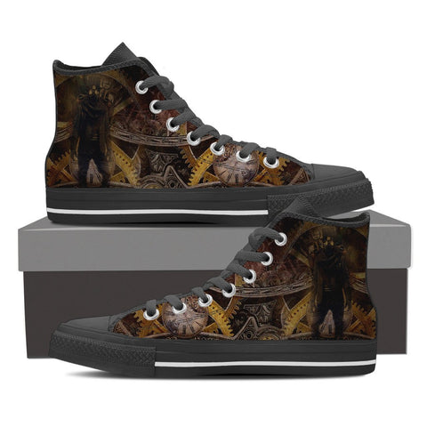 Goth Topics Men's Steampunk Apocalyptic Gears High Top Canvas Shoes