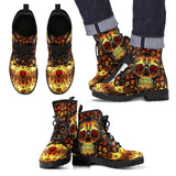 Goth Topics Men's Sugar Skull Leather Boots