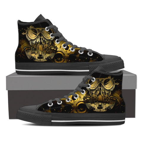 Goth Topics Men's Steampunk Gas Mask High Top Canvas Shoes