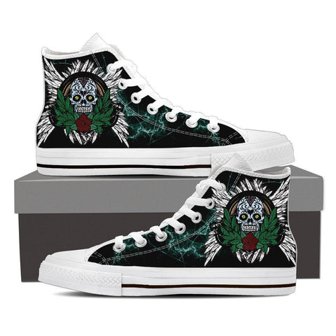 Goth Topics Men's Sugar Skull Plant High Top Canvas Shoes