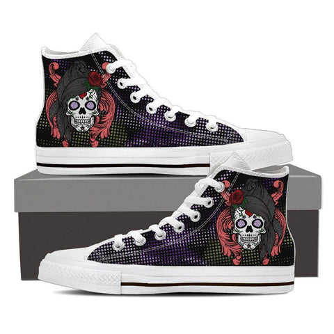 Goth Topics Men's Long Haired Sugar Skull High Top Canvas Shoes