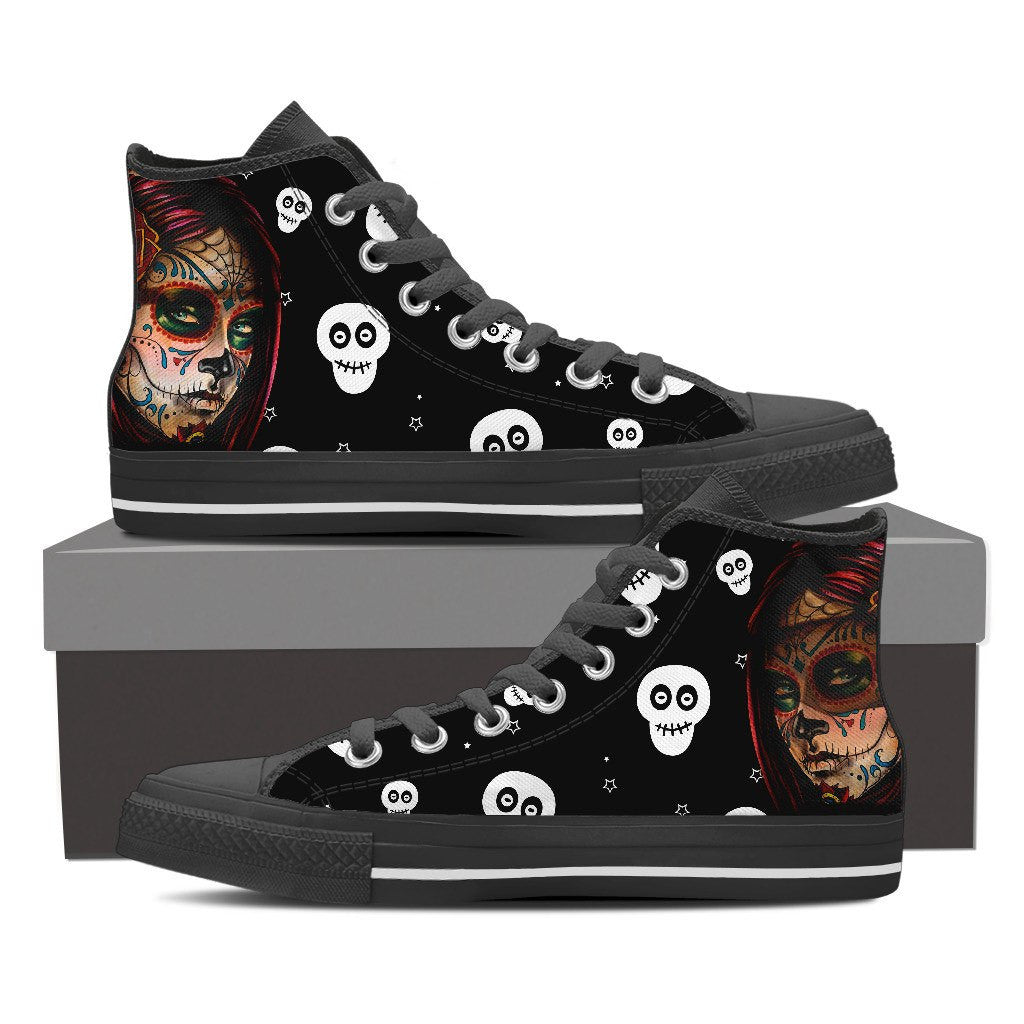 Women's White Skull High Top Canvas Shoes