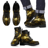 Goth Topics Mens Steampunk Metal Plate Leather Boots
