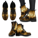 Goth Topics Women's Steampunk Smiling Skull Leather Boots