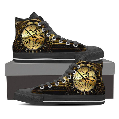 Goth Topics Men's Steampunk Time Stands Still High Top Canvas Shoes
