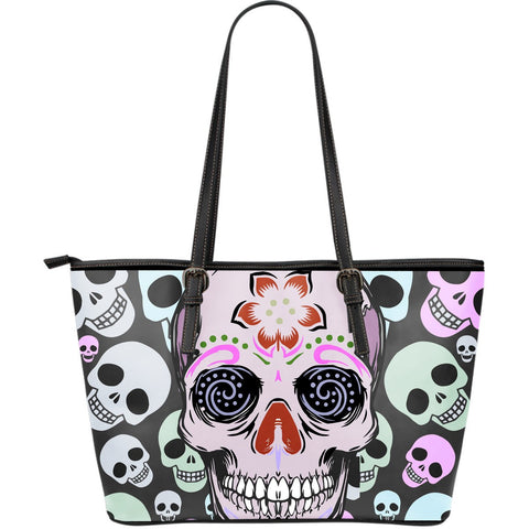 Goth Topics Bright Skull Gothic Leather Tote Bag