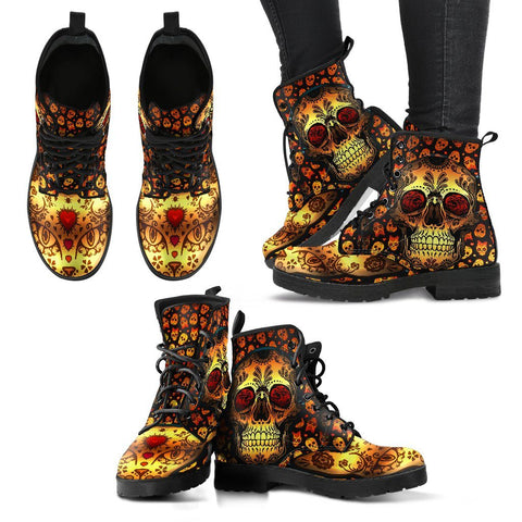 Goth Topics Women's Sugar Skull Cat Leather Boots