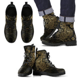 Goth Topics Men's Steampunk Golden Gears Leather Boots