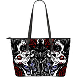 Goth Topics Sugar Skull Woman Leather Tote Bag