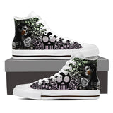 Goth Topics Women's Sugar Skull Rose High Top Canvas Shoes