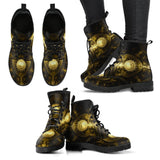 Goth Topics Women's Steampunk Metal Plate Leather Boots