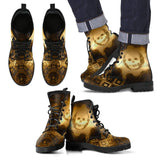 Goth Topics Mens Steampunk Smiling Skull Leather Boots