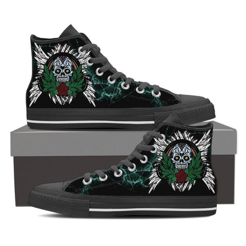 Goth Topics Women's Sugar Skull Plant High Top Canvas Shoes