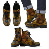 Goth Topics Men's Steampunk Ripped Gear Leather Boots